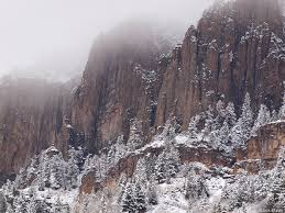 Snowy Cliffs Above Ouray Colorado