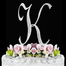 K Sparkle Silver WF Monogram Wedding Cake Toppers