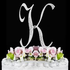 K Sparkle Silver WF Monogram Wedding Cake Toppers
