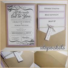 KRAFT WEDDING INVITATIONS DIY POCKETFOLD ENVELOPES BOX VINTAGE BROWN INVITE C