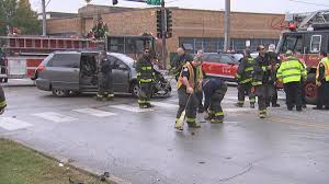 100 Truck Accident Chicago 6 People Including Two Kids Hurt When Van Collides With Fire