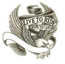 Eagle With Live To Ride Banner Tattoo