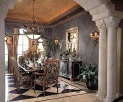 Mediterranean Dining Room Decorating Around A Wall Mounted Table