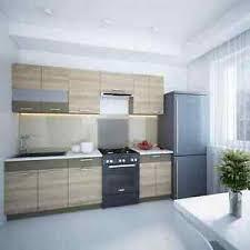 details zu küche alina 250 cm küchenzeile einbauküche küchenblock eiche mocca