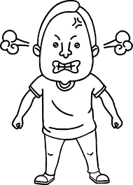 Man Angry Coloring Page In Face