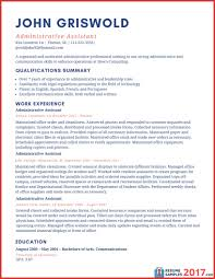Resume Examples 2017 Administrative Assistant Asptur Executive