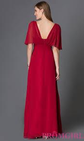 empire waist long chiffon dress with sleeves