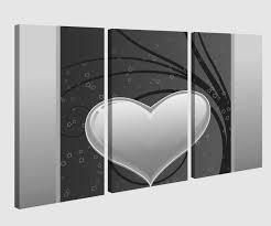 leinwandbild 3 tlg herz ranke blumenranke rot gold liebe hintergrund schlafzimmer schwarz weiß bild bilder leinwand leinwandbilder holz wandbild