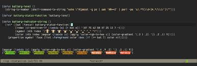 mode line battery indicator with unicode character emacs