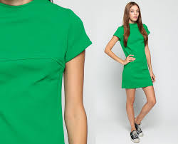 60s shift dress mini mod plain kelly green retro 1960s short
