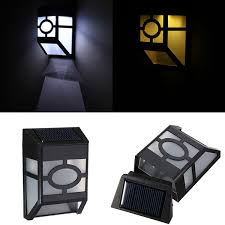 solar powered wall mount 2 led light l outdoor garden fence