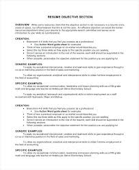 Objectives Section Of Resume Objective In Sample For Chef