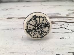 Nautical Drawer Pulls Uk by Coastal Nautical Knob Compass Drawer Pull Beach Themed Ceramic
