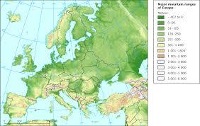 mountain ranges of europe major mountain ranges of europe european environment agency