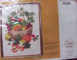 Frosted Pumpkin Stitchery Kit by Creative Circle 0320 Fruit Basket Vintage 1981 Crewl Stitchery Kit