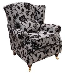 Buy Black Floral Wingback Chair | Designersofas4u Fniture White Line Slipcover For Wing Chair Capvating Bedroom Astonishing Recliner Elegant Home Slip Covers Linen Wingback Black Arm Emerald And Amazoncom Tikami Slipcovers 2piece Spandex Stretch Purple Patterned Decofurnish Red Armless Room With Unique Richness Cover Intended Satisfying Petite Pottery Barn Modern Chairs Leather Grey Turquoise Double Diamond White Black Linen Wingback Slipcover Having Short Wooden Legs Pique Raven 710