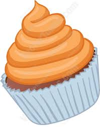 Cupcake With Orange Swirled Frosting Cartoon Clipart