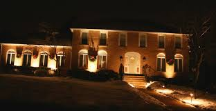 Brick Front House With Landscape Lights Outdoor Lighting Exterior Designs Home Design Ideas Tool And Decks