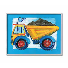 100 Kids Dump Trucks The Room By Stupell The Room By Stupell Yellow Truck With Blue Border Grey Framed 16 X 20 Proudly Made In USA
