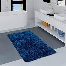 paco home moderne badematte badezimmer teppich shaggy weich in versch größen u farben grösse 70x120 cm farbe blau