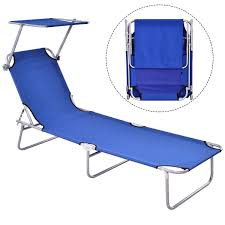 Details About Outdoor Folding Camping Recliner Lounge Beach Chair Bed Relax  Chaise W/Canopy US