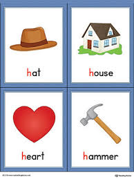 Letter H Words and Printable Cards Hat House Heart