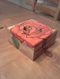 Handmade Wooden Jewelry Box With Rose Drawing By WhitneyHawks 1595