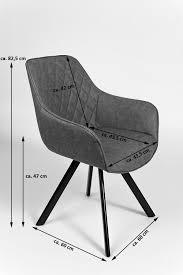 esszimmer armlehnstuhl grau schwarz metallbeine alina