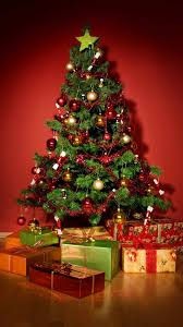Home Decoration Interesting Small Artificial Christmas Tree Ideas With Red Gold Baubles Y Tinsel