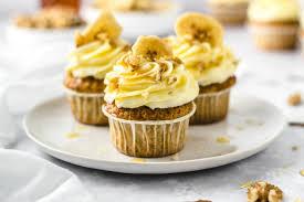 bananen walnuss cupcakes mit frischkäse topping