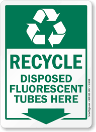 recycle disposed fluorescent here sign with arrow sku