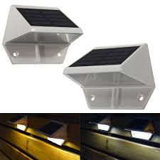 solar powered led light pathway step stair wall mounted garden