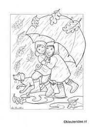 Kleurplaat Herfst Regen Paraplu Kleuterideenl Autumn Rain Umbrella Preschool Coloring