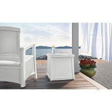 Suncast Outdoor Patio Furniture by Suncast Elements Resin Patio Storage End Table White Target