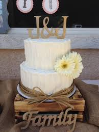 2 Tier Rustic Wedding Cake With Rafia Border By Frost It Cupcakery