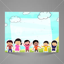 Paper Illustration Of Cute Little Kids Elegant Carnival Background