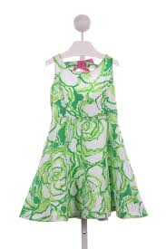 lilly pulitzer green and white floral dress with pink bow in back