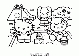 Languages Hello Kitty Coloring Page Butterfly