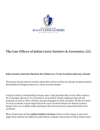 100 Truck Accident Attorney Atlanta Julian Sanders Reviews Mention His Ability As A Truck Accident