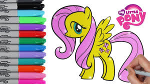 My Little Pony Coloring Book Pages Fluttershy MLP Video For Kids Art