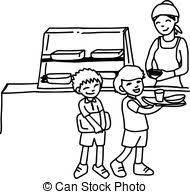 school canteen clipart black and white