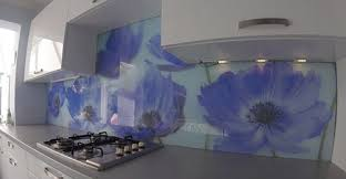 Digitally Printed Glass Splashbacks Blue Flowers