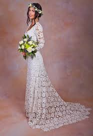 Rustic BOHO WEDDING DRESS Simple Crochet Lace Bohemian Wedding Dress W Long Sleeves And Train Vintage Style