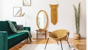 wohnzimmer idee boho chic deko im weißen retro wohnzimmer