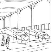 Train Station Scene Coloring Pages