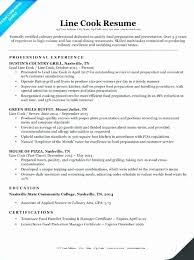 Line Cook Resume Sample Typical Prep And Samples