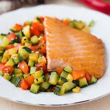 cuisiner filet de saumon filet de saumon aux petits légumes du jardin metro