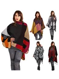 womens warm winter poncho wrap knitted shawl throw cape scarf