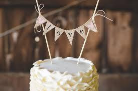 Handmade Burlap Bunting Cake Topper