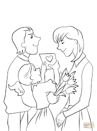 Father And Daughter Presenting Mother Flowers Card For Mothers Day From